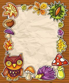 Frame with autumnal nature symbols Royalty Free Vector Image , Owl Cartoon, Cartoon Pics, Cartoon Picture, Owl Photos, Owl Pictures, Free Vector Graphics, Free Vector Images, Nature Symbols, Owl Vector