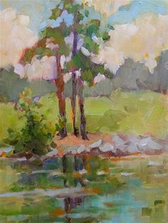 """Trees by the Lake"" - Original Fine Art for Sale - © Karen Meredith"