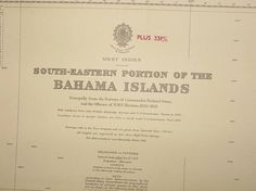 Original British Admiralty Sea Chart - West Indies Bahama Islands South Eastern Portion (Originally Published at the Admiralty 5th June 1889) Corrections to 1951 Circa 1954  A highly prized and collectable superb Gift for a Yachtsman  A fantastic totally original sea chart (not modern reprint) that would look superb, framed and hung in a contemporary apartment, house in any classical study. This chart was acquired from an antique sale in western England with many others from around the world…