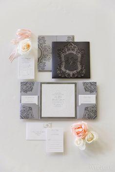 Glamorous invitation suite by #PaperandPoste  | Photography: Ikonica | #fourseasons #Toronto #weddings #fsweddings #bridal #springwedding #spring