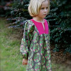 Girls dress with long sleeves pink corduroy by SchoolHouseFrock, $48.00