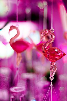 Pink Flamingos of Glass
