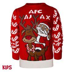 Ajax-kersttrui rendier met Kerstman junior | Kerst | Fan items | Ajax shop Christmas Sweaters, Fans, Shopping, Sports, Fashion, Hs Sports, Moda, Fashion Styles, Christmas Jumper Dress
