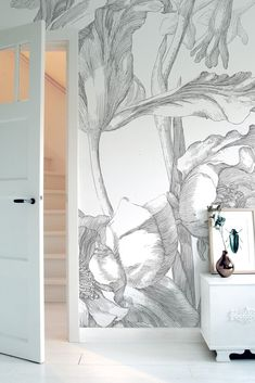 Engraved Flowers 331 Wall Mural by KEK Amsterdam Wall Wallpaper, Pattern Wallpaper, Mural Art, Wall Murals, Amsterdam Wallpaper, Black And White Flowers, Burke Decor, White Home Decor, Inspiration Wall