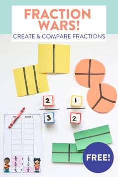 Need some new activities to help first grade students create and compare fractions? Comparing Fractions, Teaching Fractions, Math Fractions, Teaching Math, Dividing Fractions, Equivalent Fractions, Ordering Fractions, Ks1 Maths, Numeracy