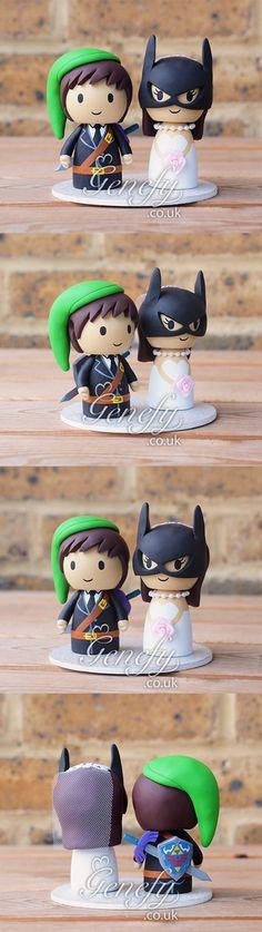Legend of Zelda groom and Batgirl wedding cake topper by Genefy Playground.  https://www.facebook.com/genefyplayground