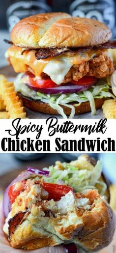 Spicy Buttermilk Crispy Chicken Sandwich This Spicy Buttermilk Fried Chicken Sandwich is fried to perfection and absolutely heavenly! Chicken Sandwich Recipes, Fried Chicken Sandwich, Oven Fried Chicken, Roasted Chicken, Chicken Gravy, Crispy Chicken Burgers, Recipe Chicken, Buttermilk Crispy Chicken, Le Diner