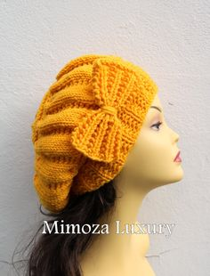 07f1536c0c674 Yellow Womens Hand Knitted Beret Hat with Bow £34.90 Knitted Beret