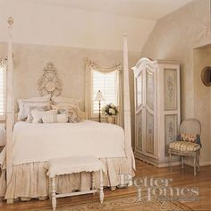 """Suite 2"" --- This room is so soft and pretty and lush. I love all the romantic and old world touches: the 4-post bed, the intricate pattern on the wallpaper, the delicate curtains, and the decorative yet functional wardrobe. This room is fit for a princess! Perfect dream bedroom in our BHG Dream Home for my future little girl!"