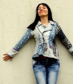 S-M Noorse stijl gerecycleerd trui en denim hippie door jamfashion