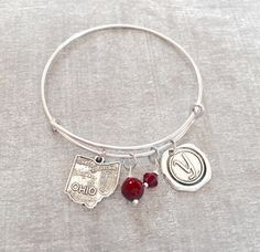 FREE SHIPPING Silver Plated Charm Bracelet Ohio State by SAjolie