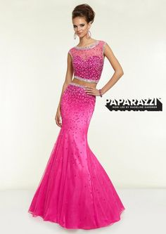 Prom 2015 @ Rubie&Jane in Lufkin, TX. Paparazzi Prom Dress by Mori Lee Style 97132. Bright Fuchsia Two Piece Beaded Net. Come see us for your Prom 2015 Dress!