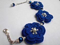 blue bracelet/ crochet bracelet/ flowers bracelet/lace bracelet/ by LalabastroCreazioni on Etsy Bracelet Crochet, Lace Bracelet, Flower Bracelet, Bracelets, Scarf Jewelry, Jewelry Gifts, Jewelery, Unique Jewelry, Bridesmaid Bracelet