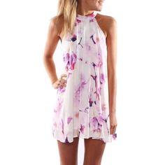 Jewel Neck Floral Print Women's Dress