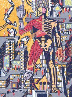 Illustration for the 'McGill Alumni Magazine' #skull #illustration #anatomy #technology #edkwong