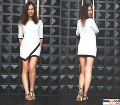 Super nice and simple short dress. White fashion #Banggood
