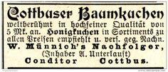 Original-Werbung/ Anzeige 1897 - COTTBUSER BAUMKUCHEN / MÜNNICH'S NACHFOLGER / UNTERLAUFT - COTTBUS  - Ca. 45 X 35 Mm - Werbung