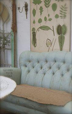pale blue & botanical green