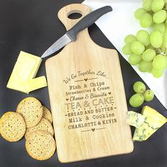 Personalised 'We Go Together Like...' Large Paddle Chopping Board