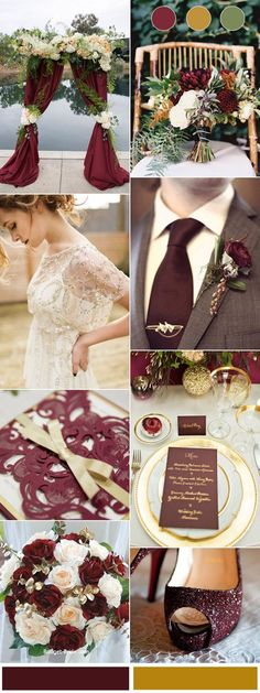 Chic Burgundy and Gold Wedding Color Combinations for Autumn 2017