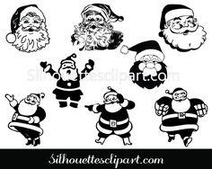 Santa Silhouette Clip Art pack - Silhouette Clip Art