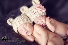 Newborn TWINS Hats -- Chunky Bear Hats -- Twin GIRLS Hats -- Twin BOYS Hats -- Crochet Baby Hats -- Crocheted Twin Baby Newborn Photo Props