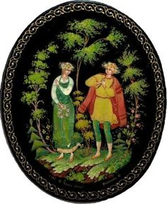 Russian lacquer miniature from the village of Palekh.