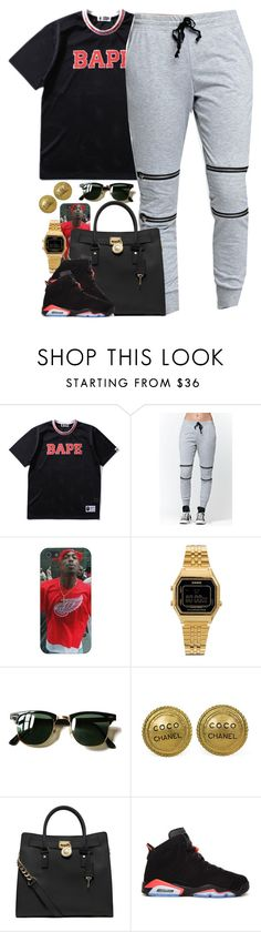 """Untitled #1553"" by power-beauty ❤ liked on Polyvore featuring A BATHING APE, LA: Hearts, Casio, Ray-Ban, Chanel, MICHAEL Michael Kors and Retrò"