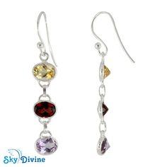 Multi Stone earring with combination of Citrine, Garnet & Amethyst . Visit to buy http://www.skydivine.com.au/sky-divine-earrings/
