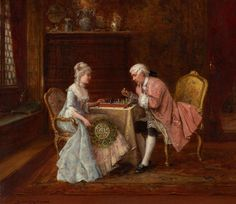 Francesco Brunery (1849-1926), also known as Frappachino Brunson and as François Bruneri   —   Lovers Chess    (1280x1107)