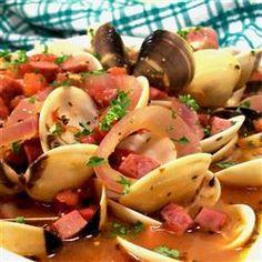 Clams and Chourico http://allrecipes.com/recipe/clams-and-chourico/