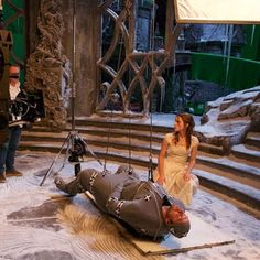 Emma Watson and Dan Stevens filming the Transformation Sequence