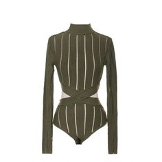 Cutout Bodysuit Olive LOVE ❤ liked on Polyvore featuring tops, cut out bodysuit, cutout tops, cut out tops, army green top and olive green top