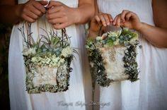Moss, Lichen, Bark and Tilladsia fresh botanical purses with Birch twig handles #tanyaslyedesigns