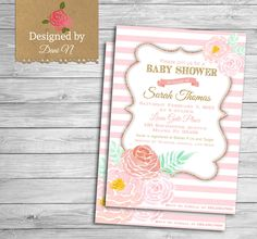 New to DesignedbyDaniN on Etsy: roses pink shower invite baby shower pink and floral baby girl invitation shower it's a girl party printable diy (15.00 USD)