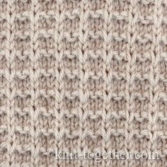 Square Stitch Pattern of Loop Stitches, knitting pattern chart, Squares, Diamonds, Basket Stitch Patterns