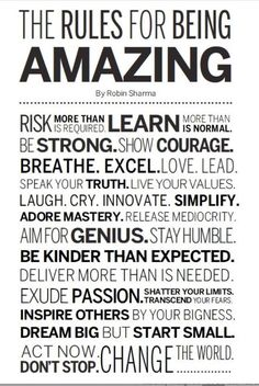 The Rules For Being Amazing. Are you? #stephinge