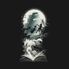 Check out this awesome 'Book+of+Dreams+and+Adventures' design on Disney Kunst, Arte Disney, Disney Art, Peter Pan Wallpaper, Fantasy Kunst, Fantasy Art, Disney And Dreamworks, Disney Pixar, Disney Peter Pan