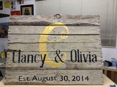 Repurposed Pallet Wood Sign Hand Painted. I made this for their wedding and now its being used as decor in their house.  Vane Pinstriping  #vanepinstriping