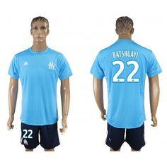 fa2ca4f495 Camisetas Futbol Olympique de Marseille Away 22 Batshuayi Adidas Azul 2017- 2018 Equipaciones de Futbol Baratas