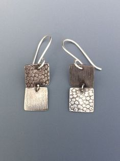 Sterling Silver Dangling Squares Earrings - Contrasting and Alternating Textures by bgConstructions on Etsy