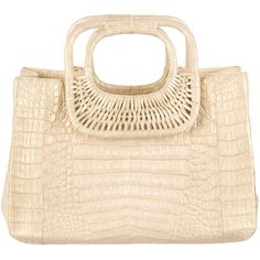 Pre-owned Nancy Gonzalez Crocodile Tote ($995) ❤ liked on Polyvore featuring bags, handbags, tote bags, gold, woven handbag, woven tote bag, gold tote, woven tote e croc tote