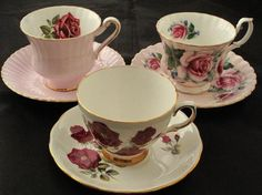 Paragon by Appointment of Her Majesty the Queen Pink w/Rose Cup & Saucer,  Royal Albert Bone China Pink Cup &Saucer with Roses and Colclough Bone China white Porcelain Cup & Saucer with Canadian Roses