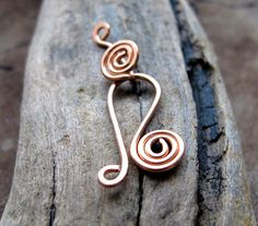 Handmade Spiral Hook Clasp. Hand Forged Copper Closure for Necklaces, Bracelets - Findings