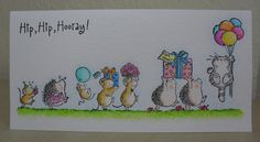 It's the first Saturday of the month, so that means it's time for a new Penny Black Saturday Challenge .the theme this month is: 'One . Birthday Thank You Cards, Homemade Birthday Cards, Homemade Cards, Penny Black Cards, Penny Black Stamps, Birthday Card Design, Watercolor Cards, Watercolour, Cute Cards