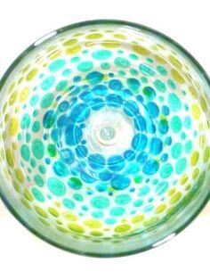 Hand Painted Wine Glasses- Blue, Green Dot Design. $26.00, via Etsy.