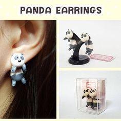 Kawaii Earring Panda Earrings Stud Polymer Clay Handmade 3D
