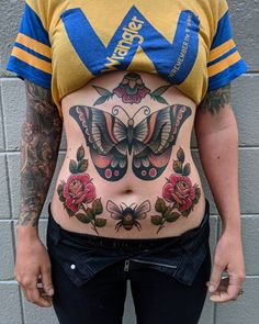 Got to finish up this big belly rocker today at Butterfly and above is a year and a half healed, all lower work was done… Lower Belly Tattoos, Stomach Tattoos Women, Tattoos For Women, Word Tattoos, Mini Tattoos, Body Art Tattoos, Tatoos, Bauch Tattoos, Butterfly Back Tattoo