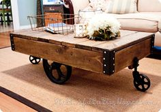 diy factory cart table