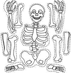 Desenho de Esqueleto para recortar e montar para colorir ...